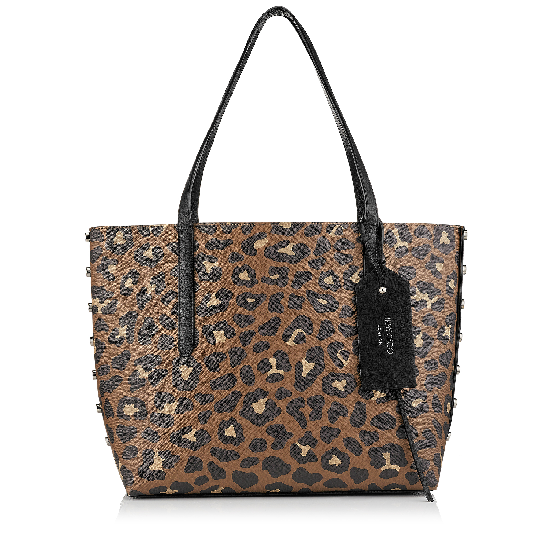 TWIST EAST WEST Hazelnut Mix Leopard Print Coated Canvas and Grainy Calf Tote Bag