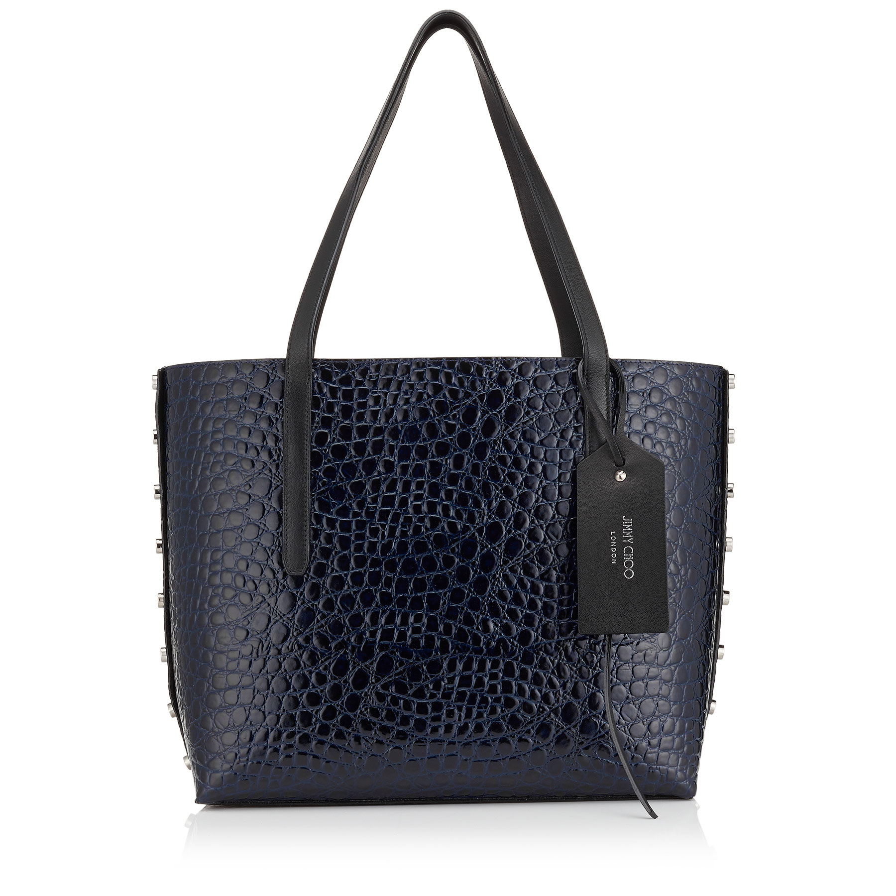 TWIST EAST WEST Navy Mock Croc and Black Grainy Leather Tote Bag