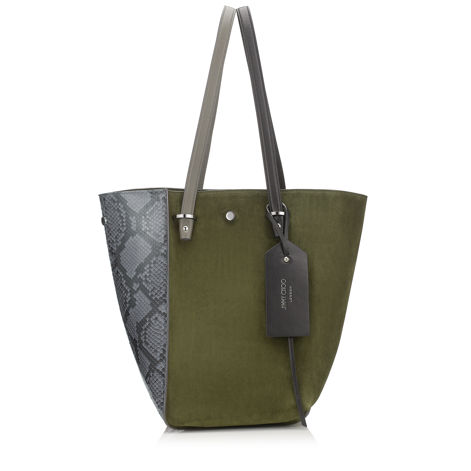 TWIST TOTE/M Taupe Grey Shiny Python and Army Green Suede Tote Bag