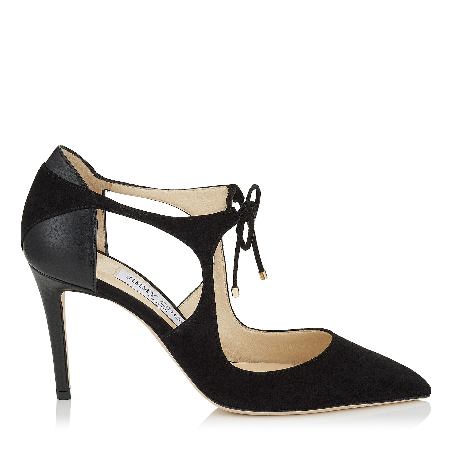 VANESSA 85 Black Suede and Nappa Pointy Toe Pumps