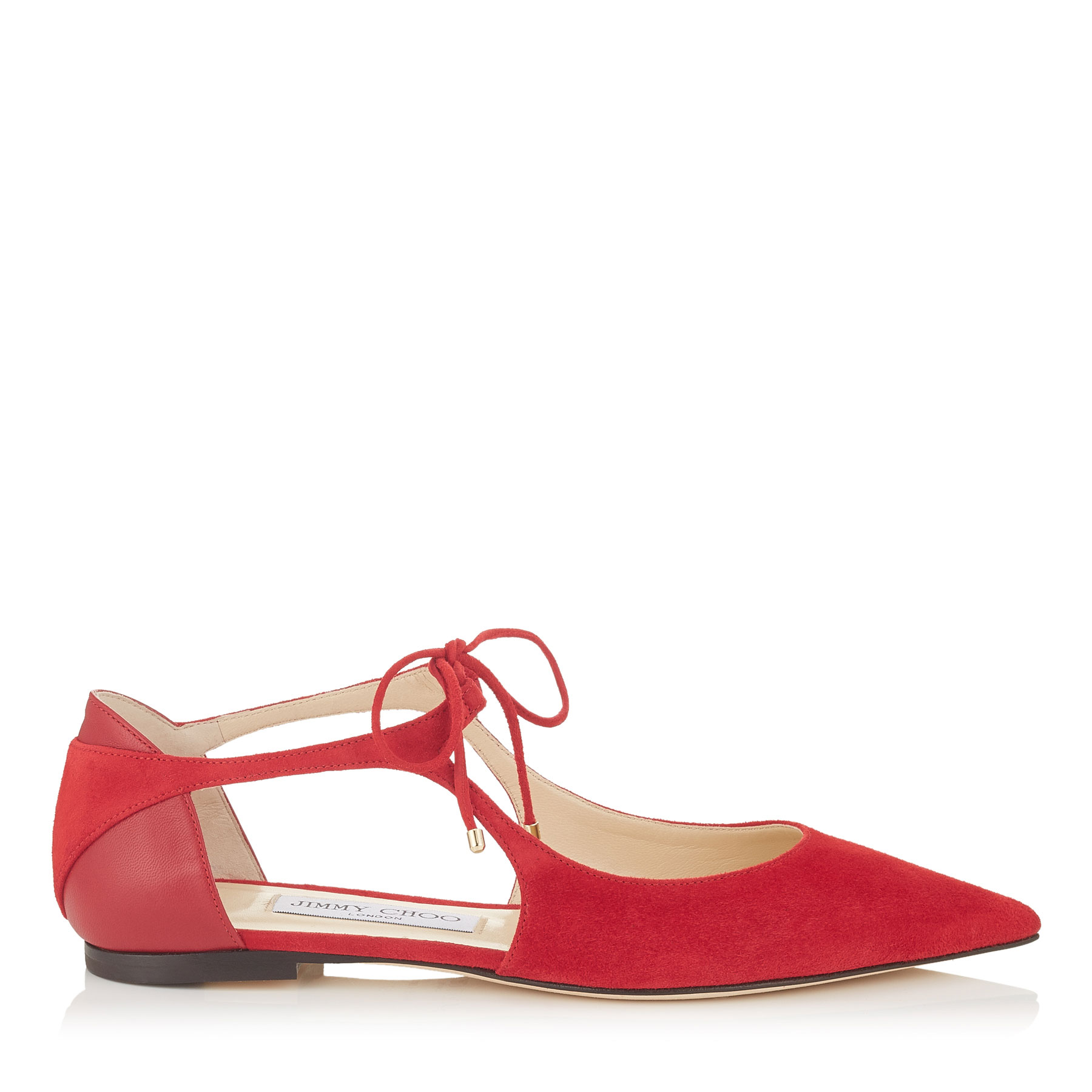 VANESSA FLAT Red Suede and Nappa Pointy Toe Flats