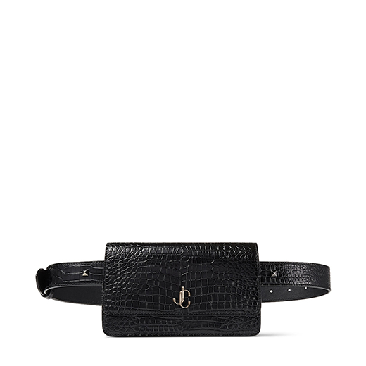 Crafted in Italy from black shiny croc-embossed leather, our VARENNE Belt bag epitomises modern refinement. It comes in a sleek, compact shape that\\\'s characterised by our signature JC emblem at the front for an iconic touch. Carry yours effortlessly with myriad everyday looks.