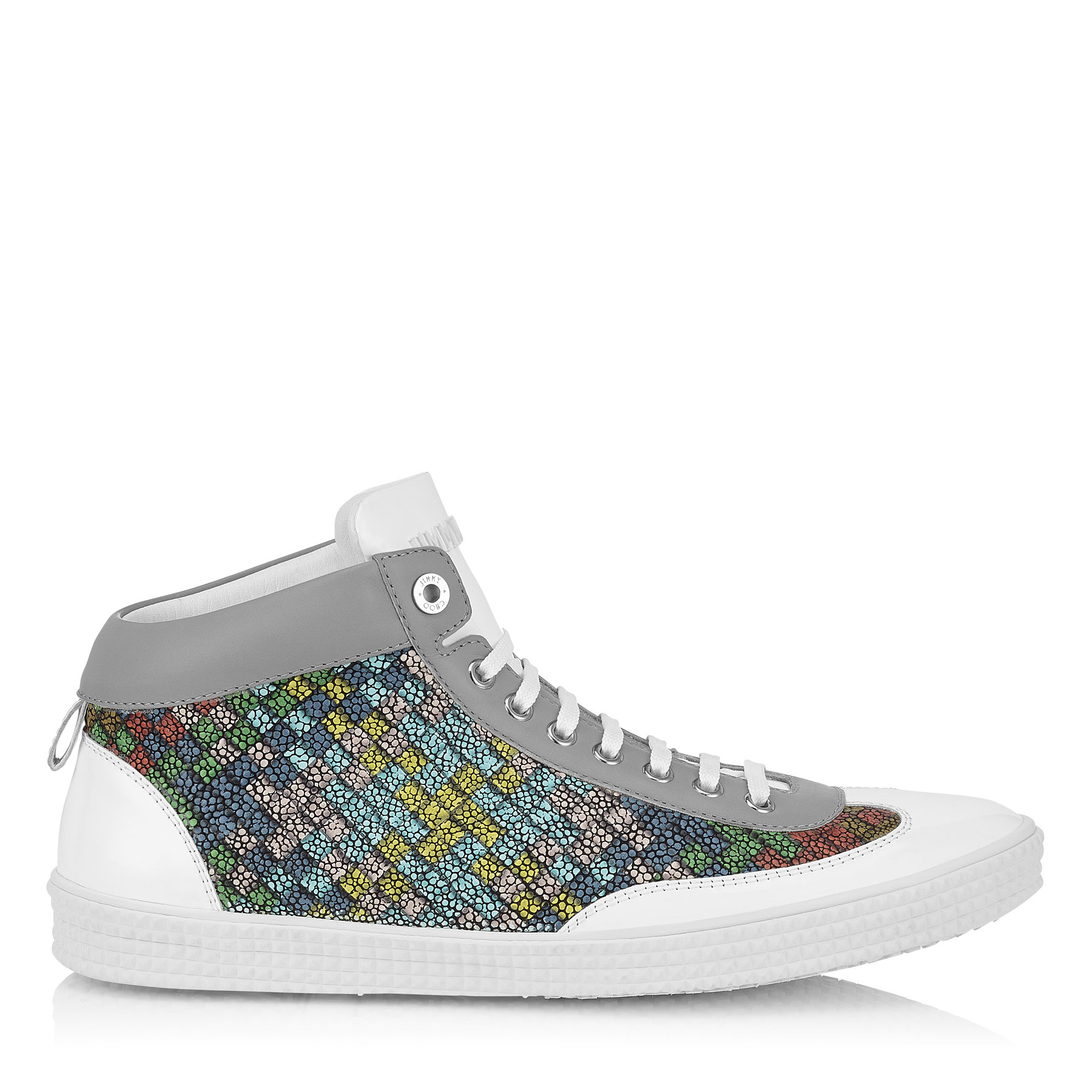VARLEY Blue and Pop Green Mix Mosaic Leather High Top Trainers
