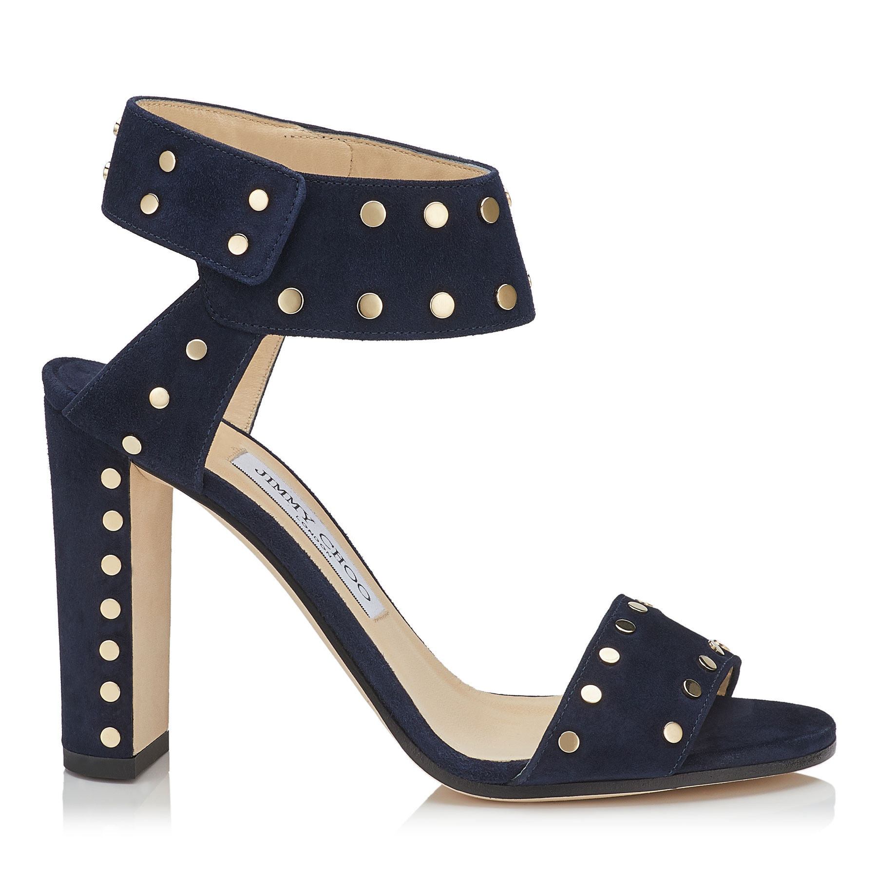 VETO 100 Navy Suede Sandals with Gold Studs