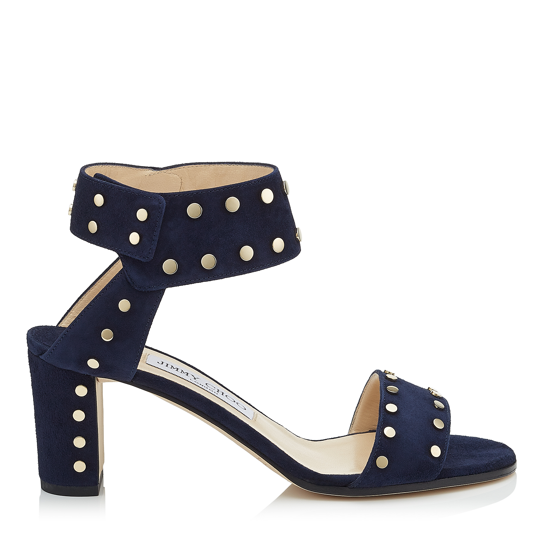 VETO 65 Navy Suede Sandals with Gold Studs