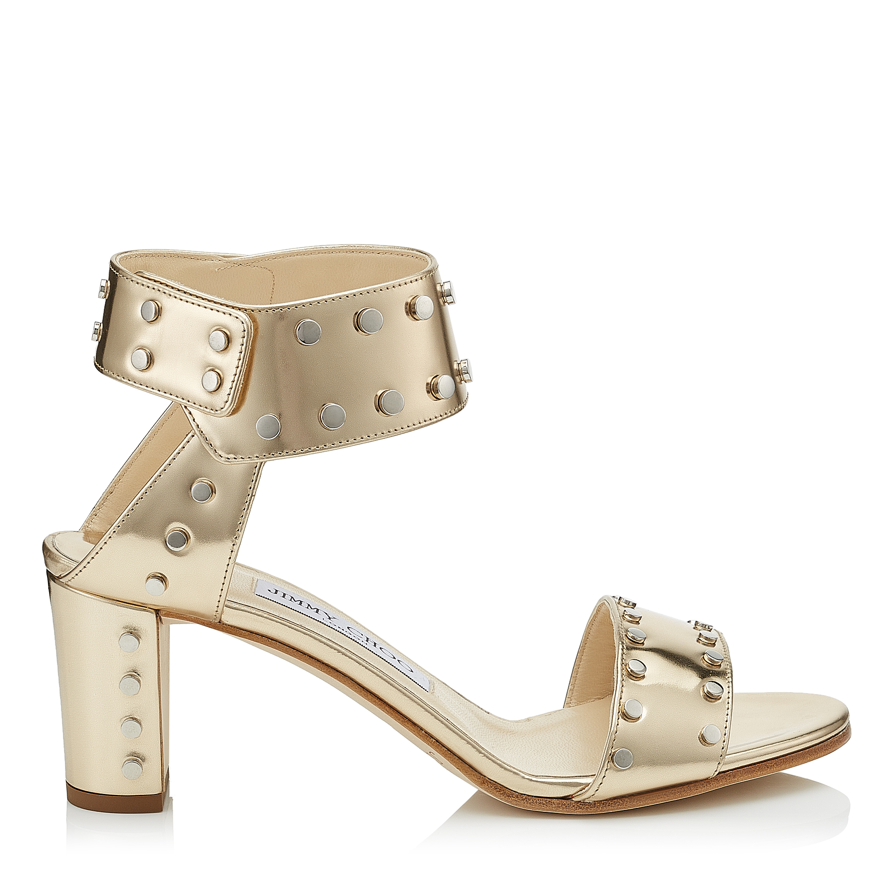 VETO 65 Dore Mirror Leather Sandals with Silver Studs