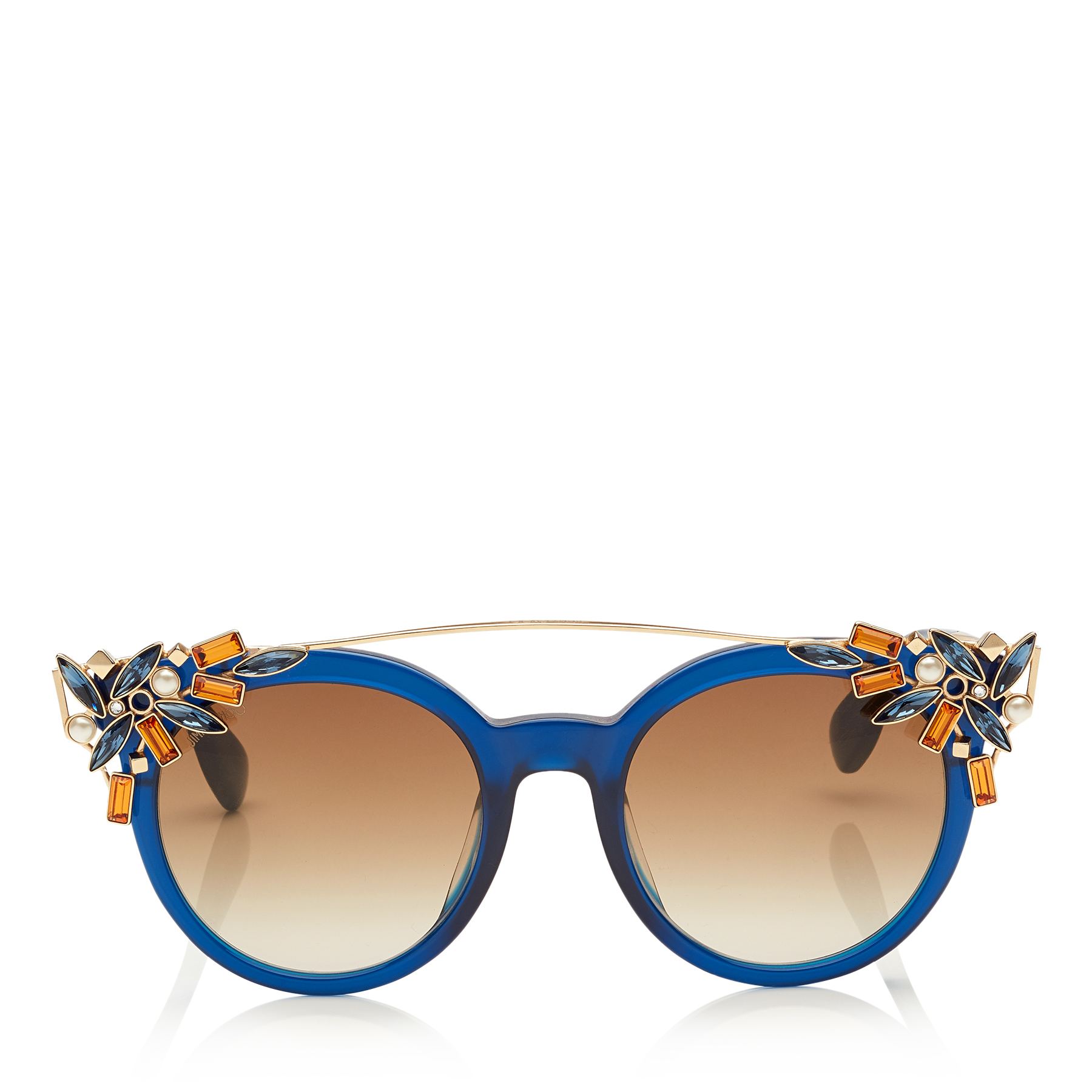 VIVY Blue and Gold Round Framed Sunglasses with Detachable Jewel Clip On
