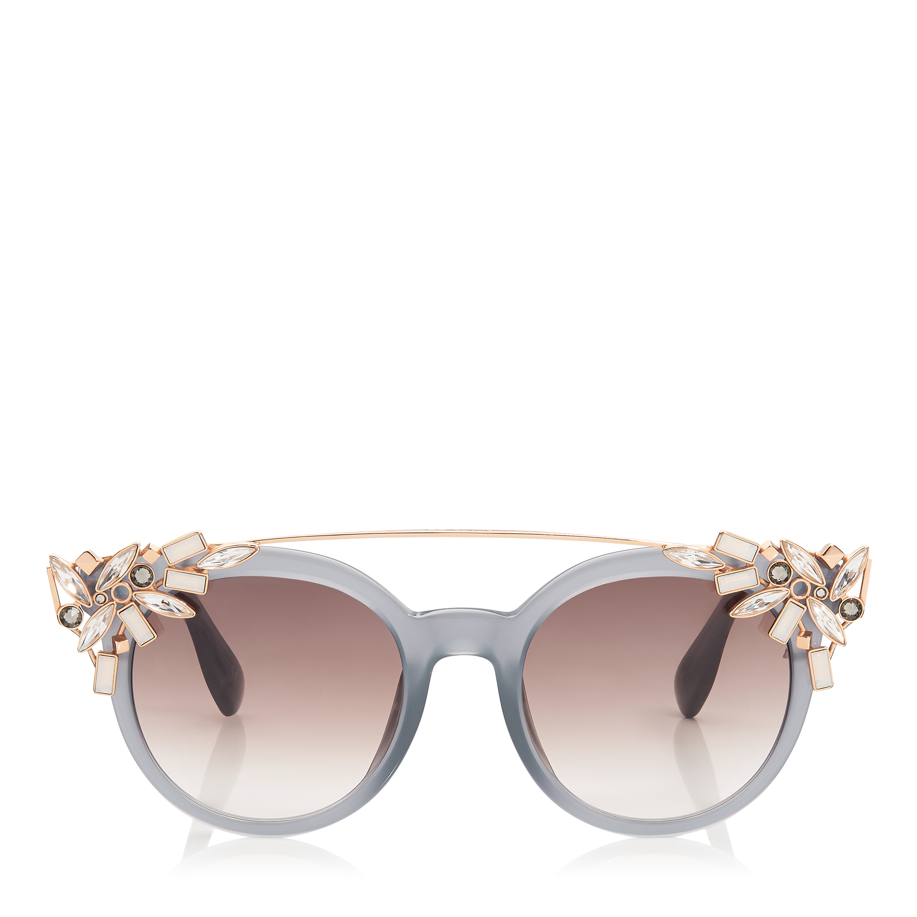 VIVY/S 51 Grey Round Framed Sunglasses with Detachable Jewel Clip On