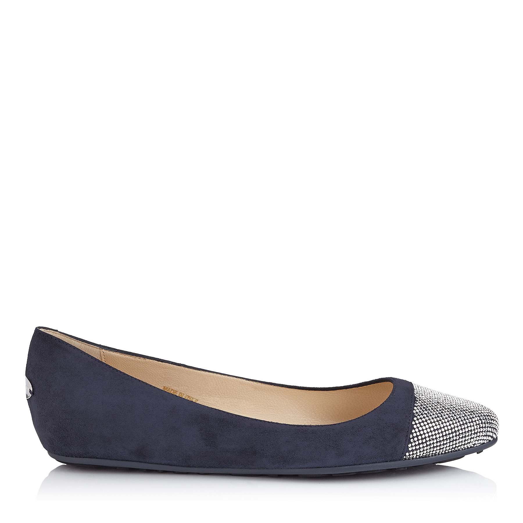 WAINE Navy Suede and Metal Micro studs Ballet Flats