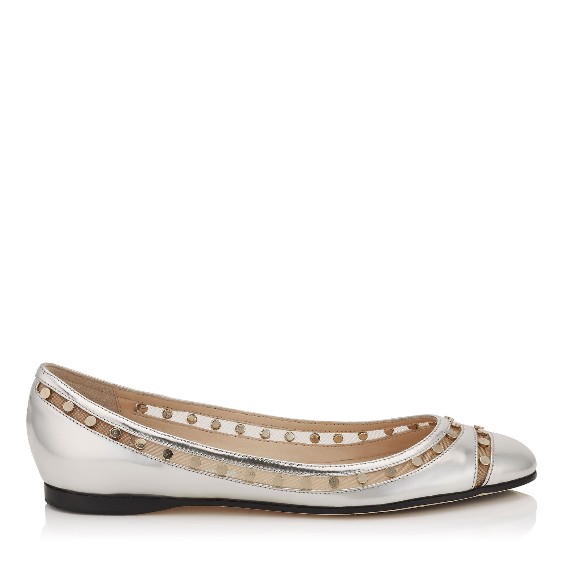 WES FLAT Silver Mirror Leather with Studded Mesh Ballet Flats
