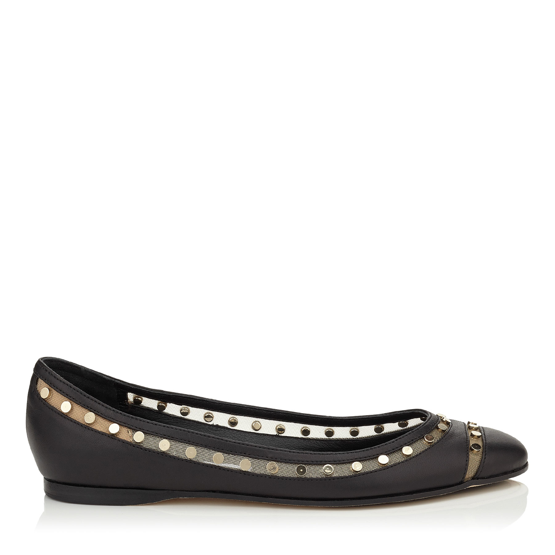 WES FLAT Black Nappa with Studded Mesh Ballet Flats