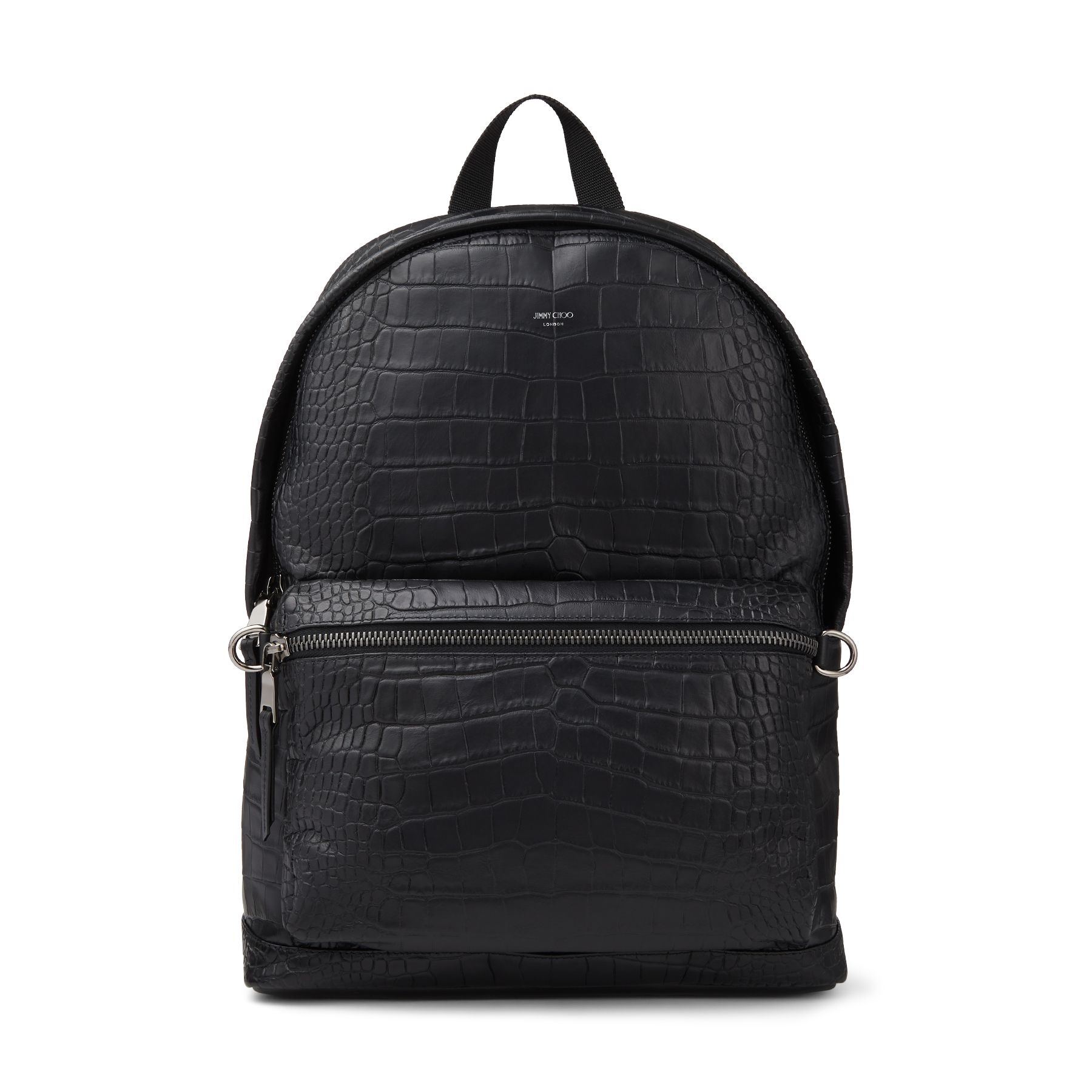 WILMER arrives in black croc-embossed leather. Crafted in Italy, the backpack is designed to hold all your daily essentials. The refined, pared-back silhouette opens to reveal a capacious interior, laptop compartment and zipped pocket. Jimmy Choo luxury is echoed in the identification plaque and signature oversized zip pulls.