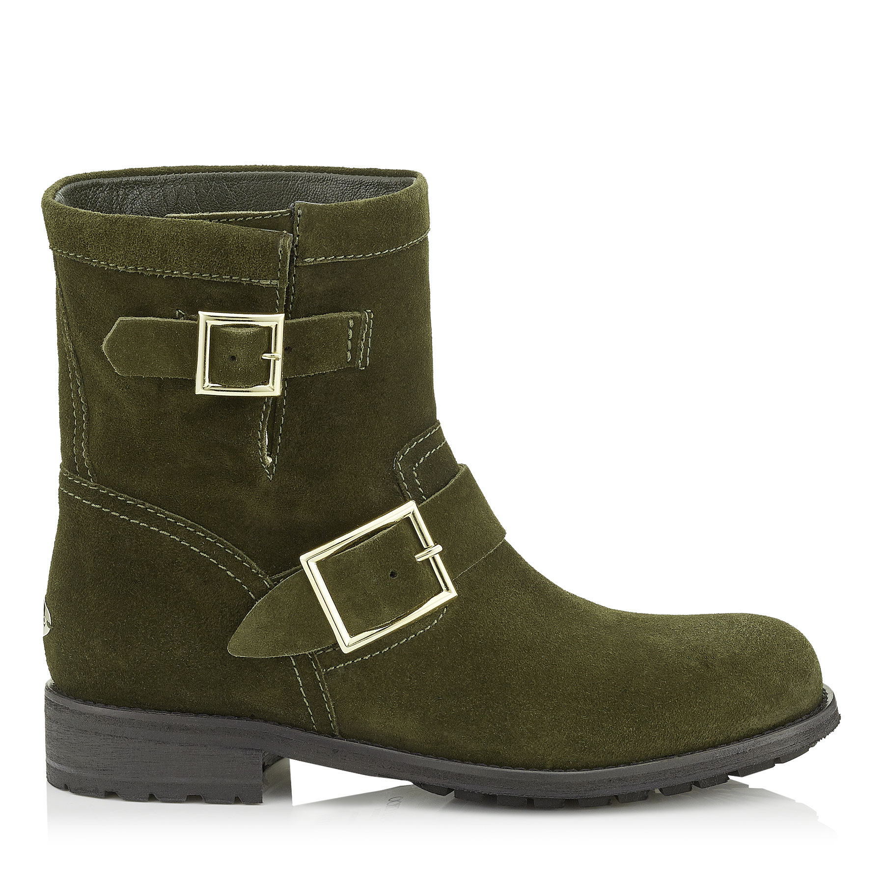 YOUTH Army Green Suede Biker Boots
