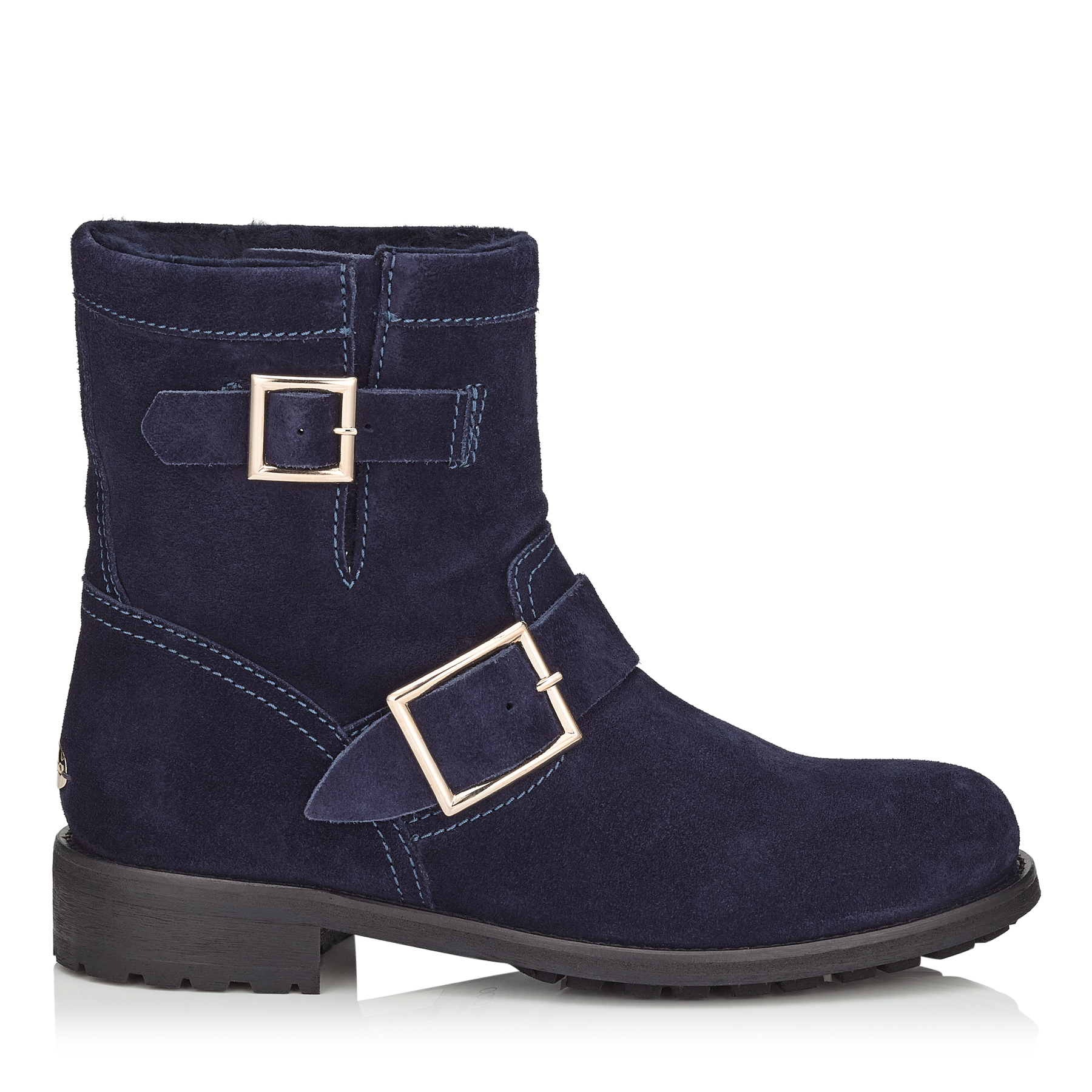 YOUTH Navy Suede Biker Boots with Shearling Lining