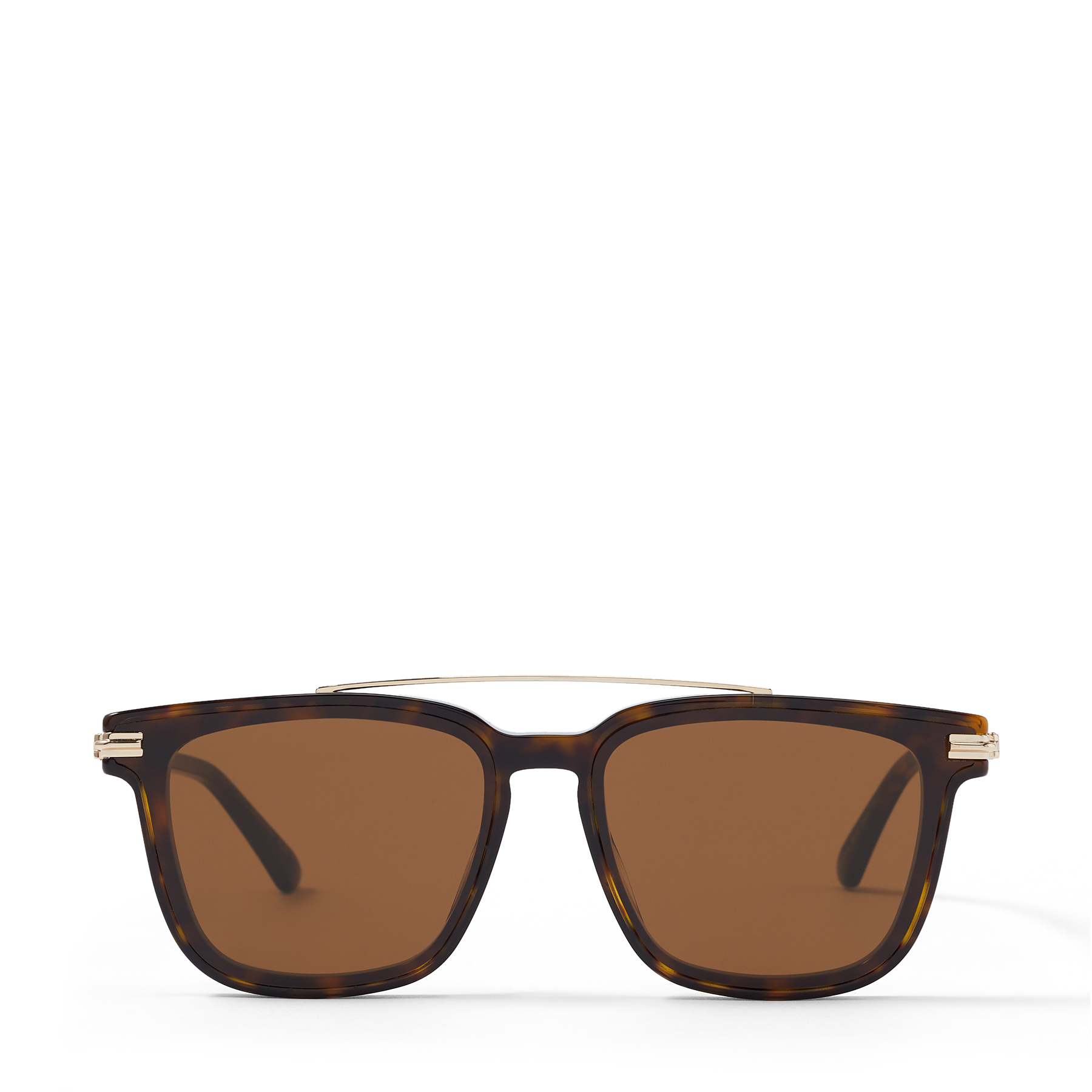 These dark havana ZED sunglasses are a sophisticated choice. They\\\'re crafted to a classic square shape with slim rose-gold temples, and set with sleek brown lenses for a refined finish.