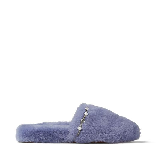 Preorder ALIETTE FLAT Bluebell Shearling Slippers with Crystal and Pearl Detailing