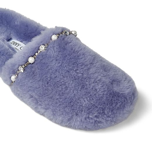 PREORDER Leathers ALIETTE FLAT Bluebell Shearling Slippers with Crystal and Pearl Detailing
