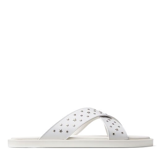 Jimmy Choo PALMO White Leather Sandals with Star Embellishment