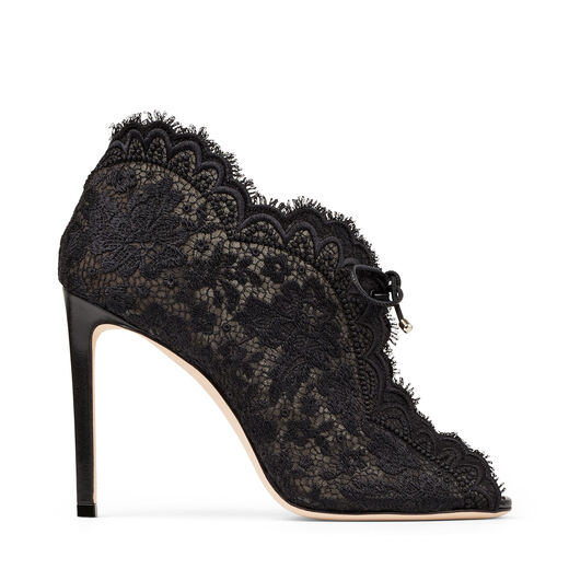 Jimmy Choo Shoes KAIANA 100 Black lace embroidered heels