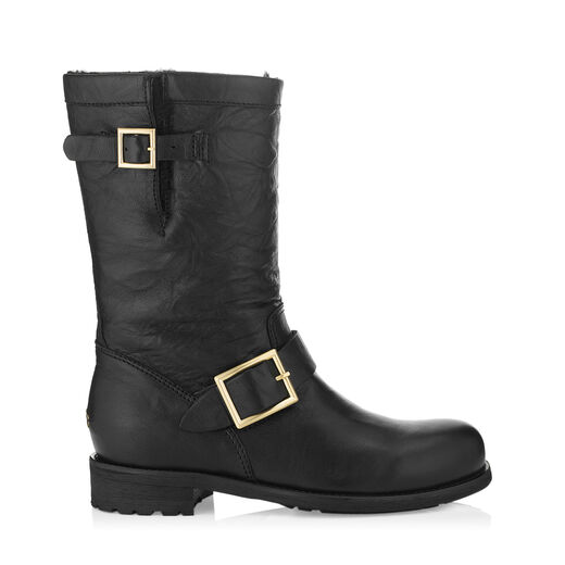 Jimmy Choo  BIKER - LINED Black Leather Biker Boots with Shearling Lining