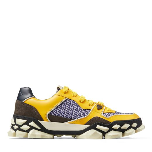 Jimmy Choo DIAMOND X TRAINER/M LIGHT WHISKY AND NAVY MIX CALF LEATHER CROSTA SUEDE AND PRINTED NYLON LOW-CUT SN