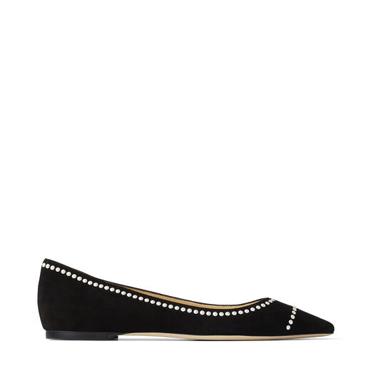 Jimmy Choo ROMY FLATS in Black Suede