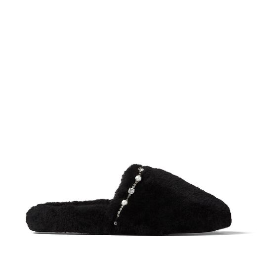 PREORDER ALIETTE FLAT BLACK SHEARLING SLIPPERS WITH CRYSTAL AND PEARL DETAILING