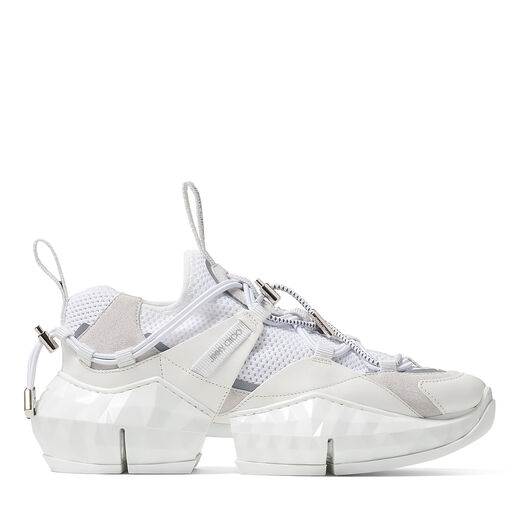 Jimmy Choo Shoes DIAMOND TRAIL/F Optic White Stretch-Mesh Trainers with Leather Detailing