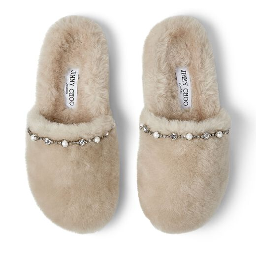 JIMMY CHOO Crystals ALIETTE FLAT NATURAL SHEARLING SLIPPERS WITH CRYSTAL AND PEARL DETAILING