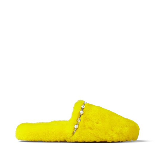 Preorder Leathers ALIETTE FLAT MIMOSA SHEARLING SLIPPERS WITH CRYSTAL AND PEARL DETAILING