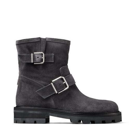 Jimmy Choo Suedes YOUTH II Dusk Suede Biker Boots with Silver Buckles