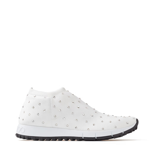 Jimmy Choo Shoes NORWAY White Knit Trainers with Hotfix Crystals