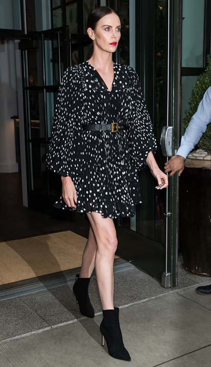 Charlize Theron wearing HELAINE