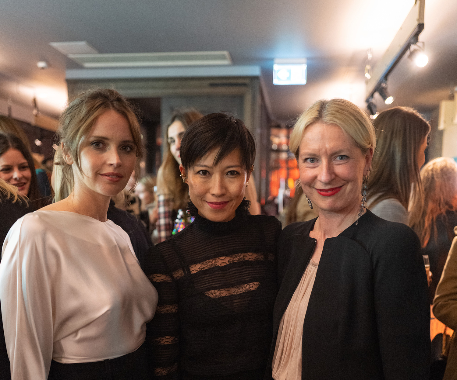 Actor Felicity Jones, Jimmy Choo Creative Director Sandra Choi, Porter magazine Editor-in-Chief Sarah Bailey
