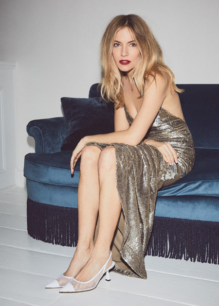 Actress Sienna Miller wearing Jimmy Choo FETTO pumps