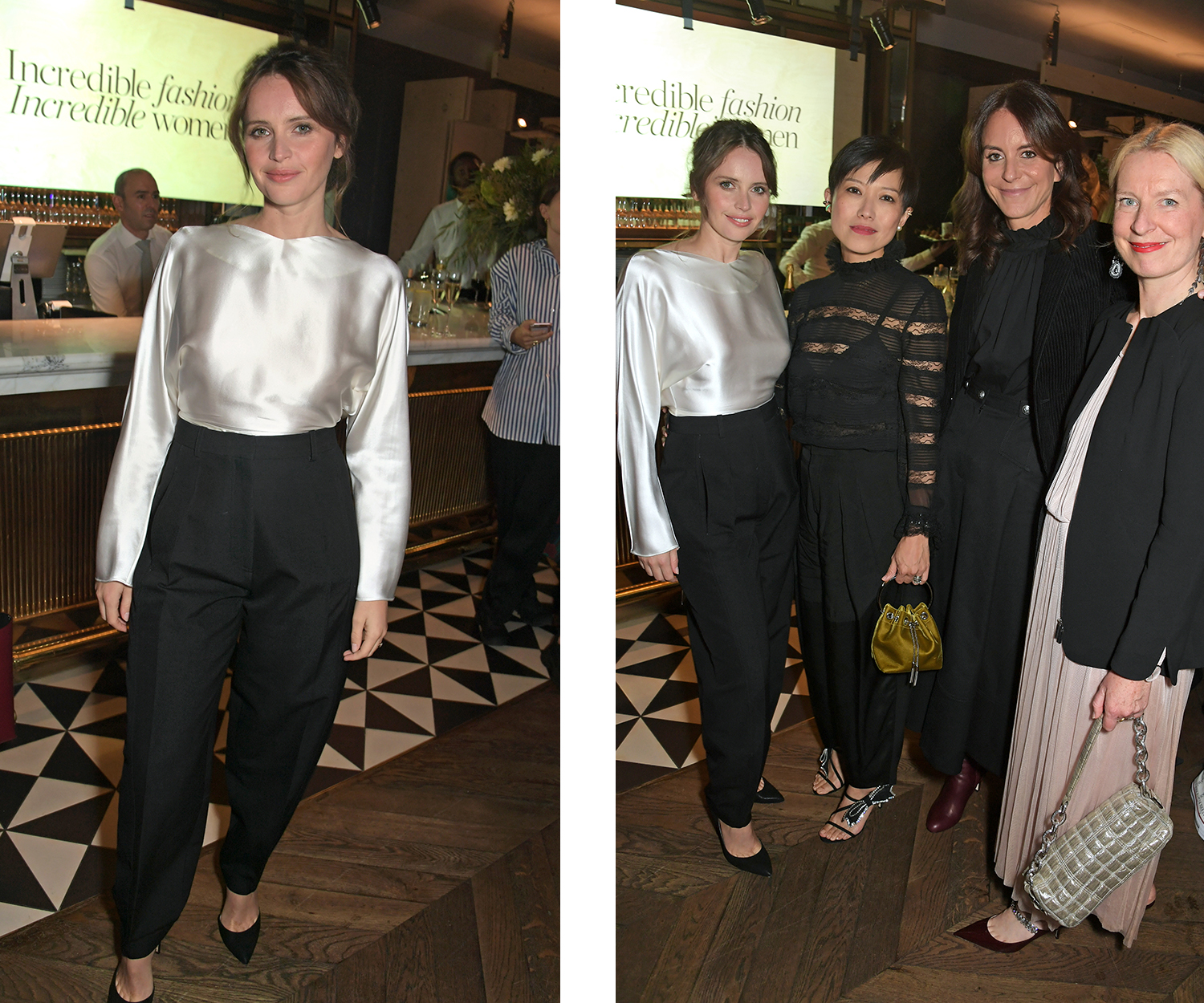 Left, Felicity Jones, right, Felicity Jones, Sandra Choi, Alison Loehnis, Sarah Bailey