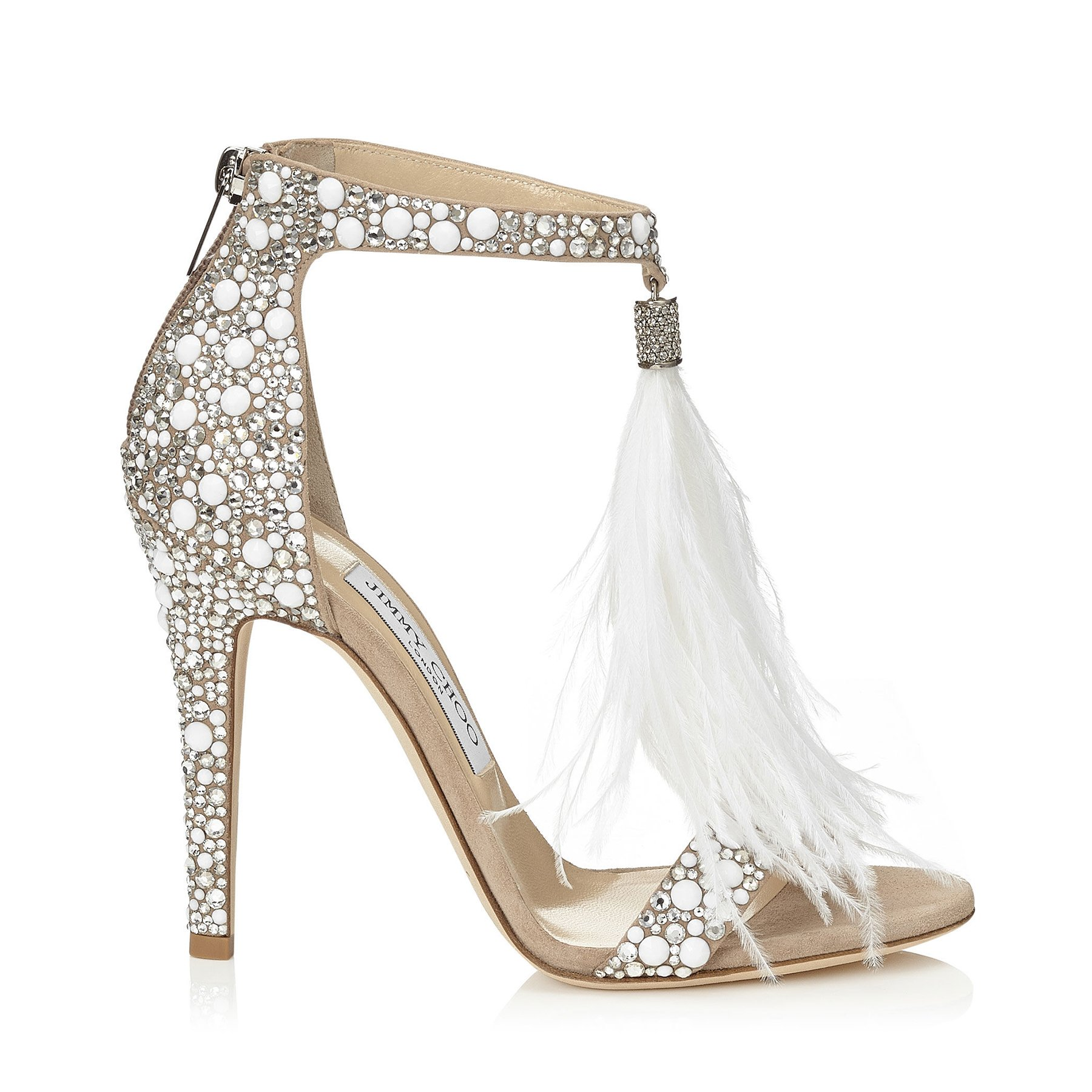 68615fb0cf3 White Suede and Hot Fix Crystal Embellished Sandals with an Ostrich Feather  Tassel