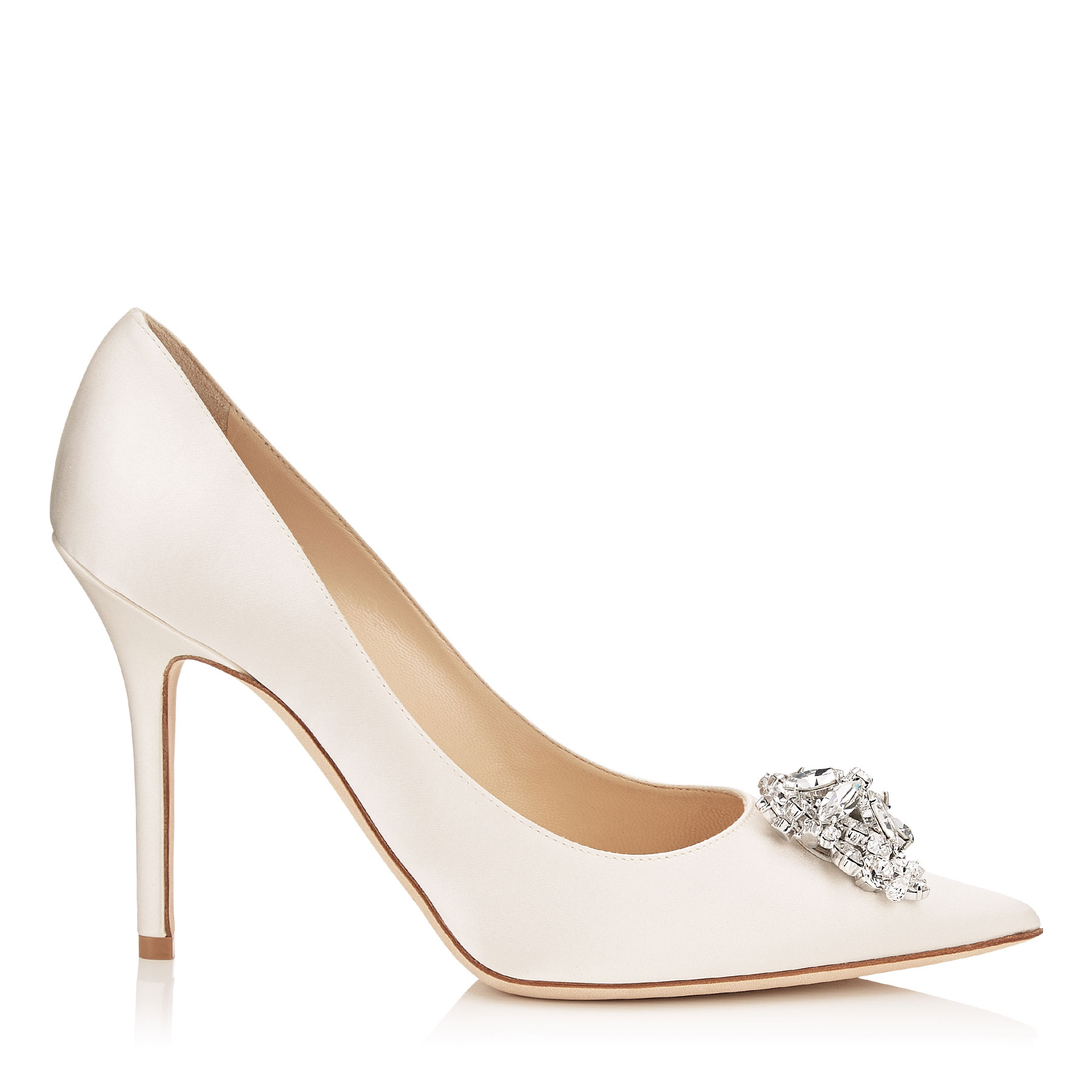 ABEL Ivory Satin Pointy Toe Pumps with Crystal Detail by Jimmy Choo