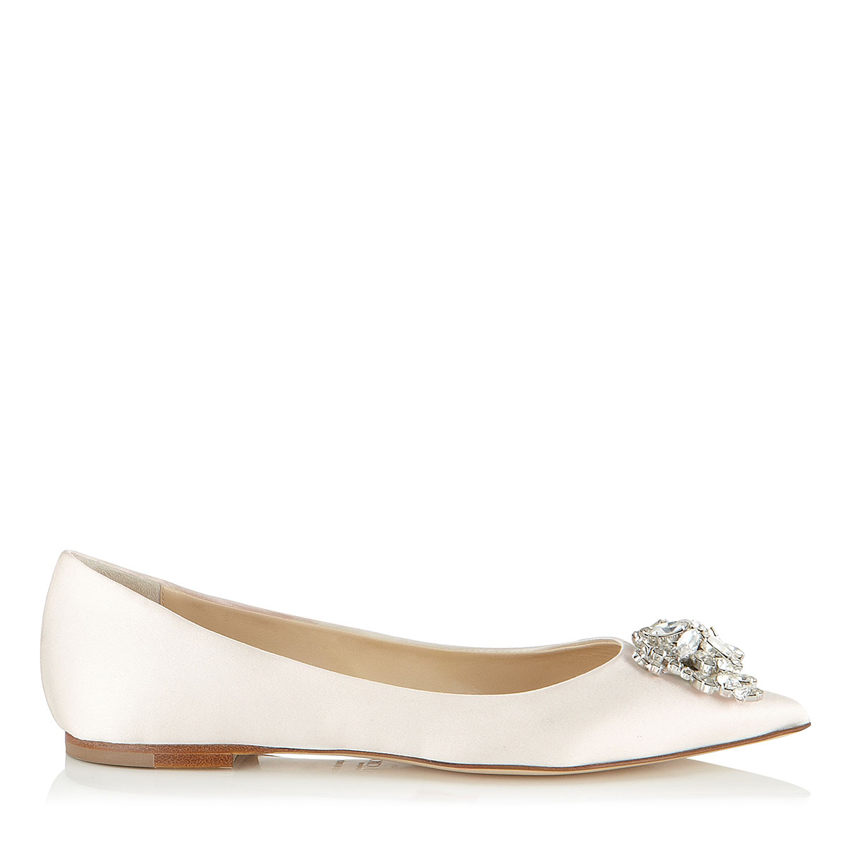 ALINA Ivory Satin Pointy Toe Flats with Crystal Detail by Jimmy Choo