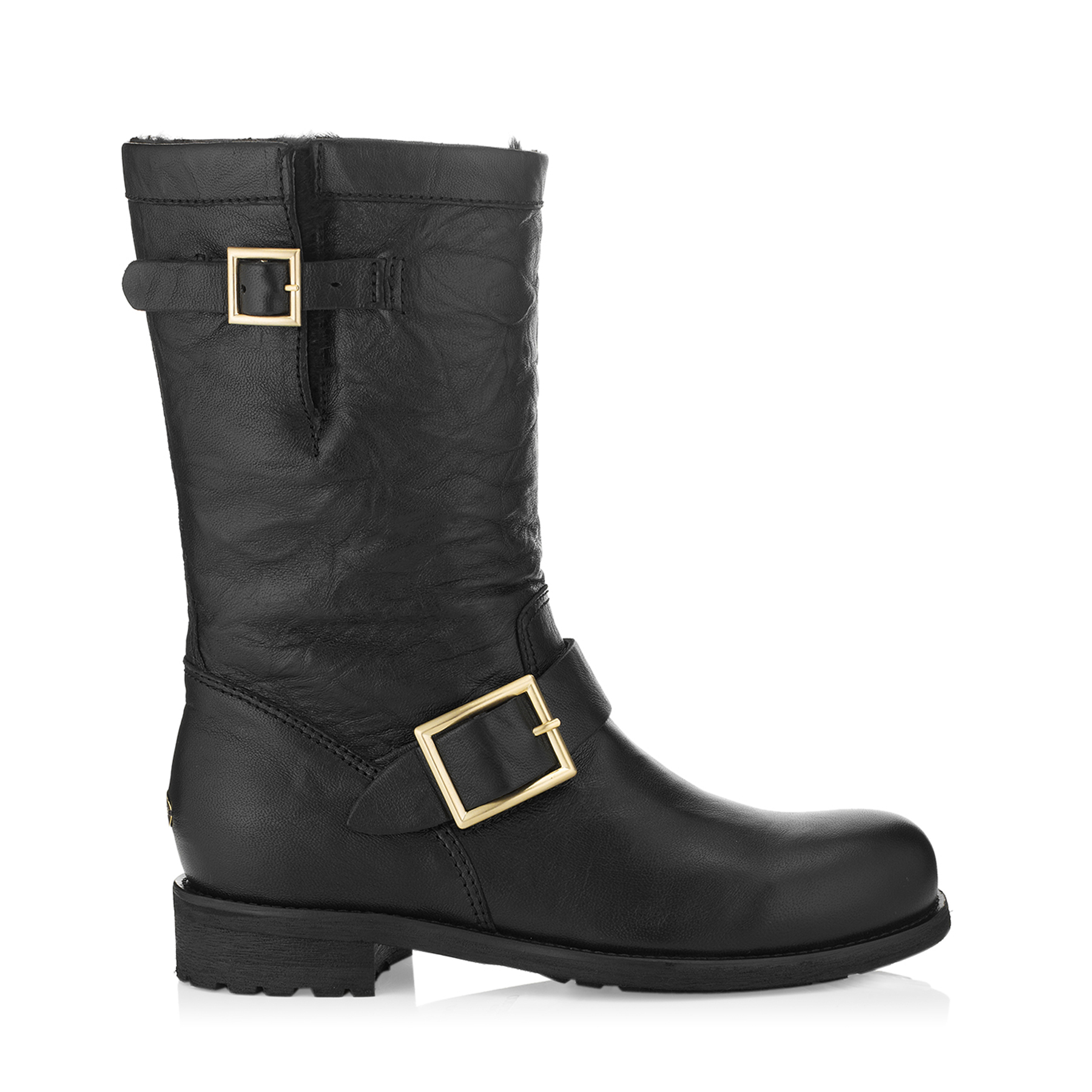 BIKER - LINED Black Biker Leather Biker Boots with Rabbit Fur by Jimmy Choo
