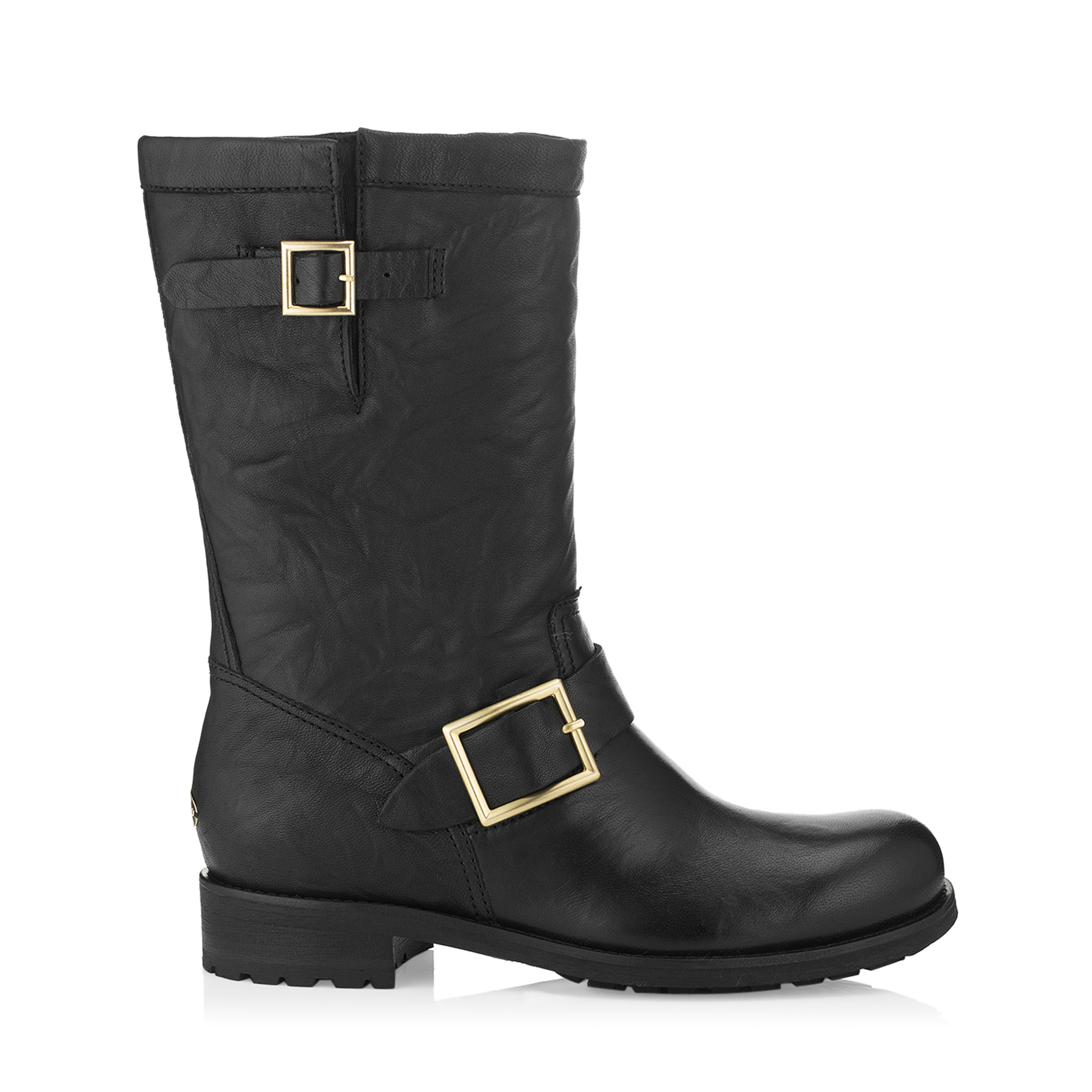 BIKER Black Biker Leather Biker Boots (Unlined) by Jimmy Choo