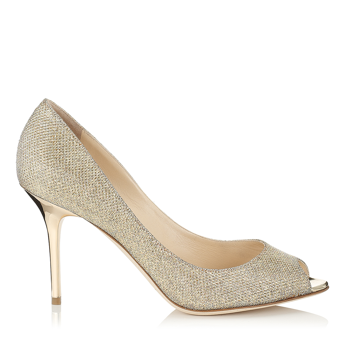 EVELYN Gold Lamé Glitter Peep Toe Pumps by Jimmy Choo