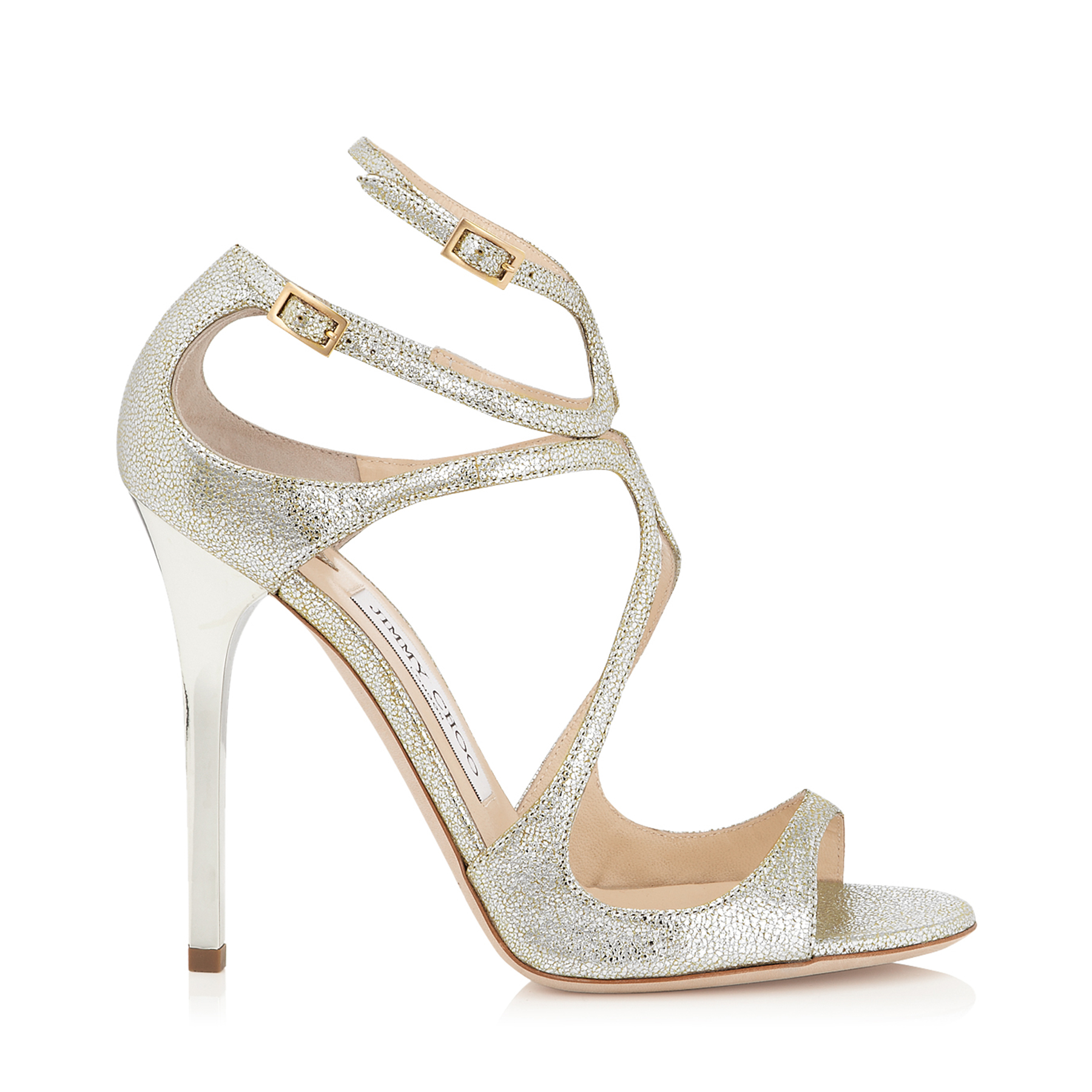 LANCE Champagne Glitter Leather Sandals by Jimmy Choo