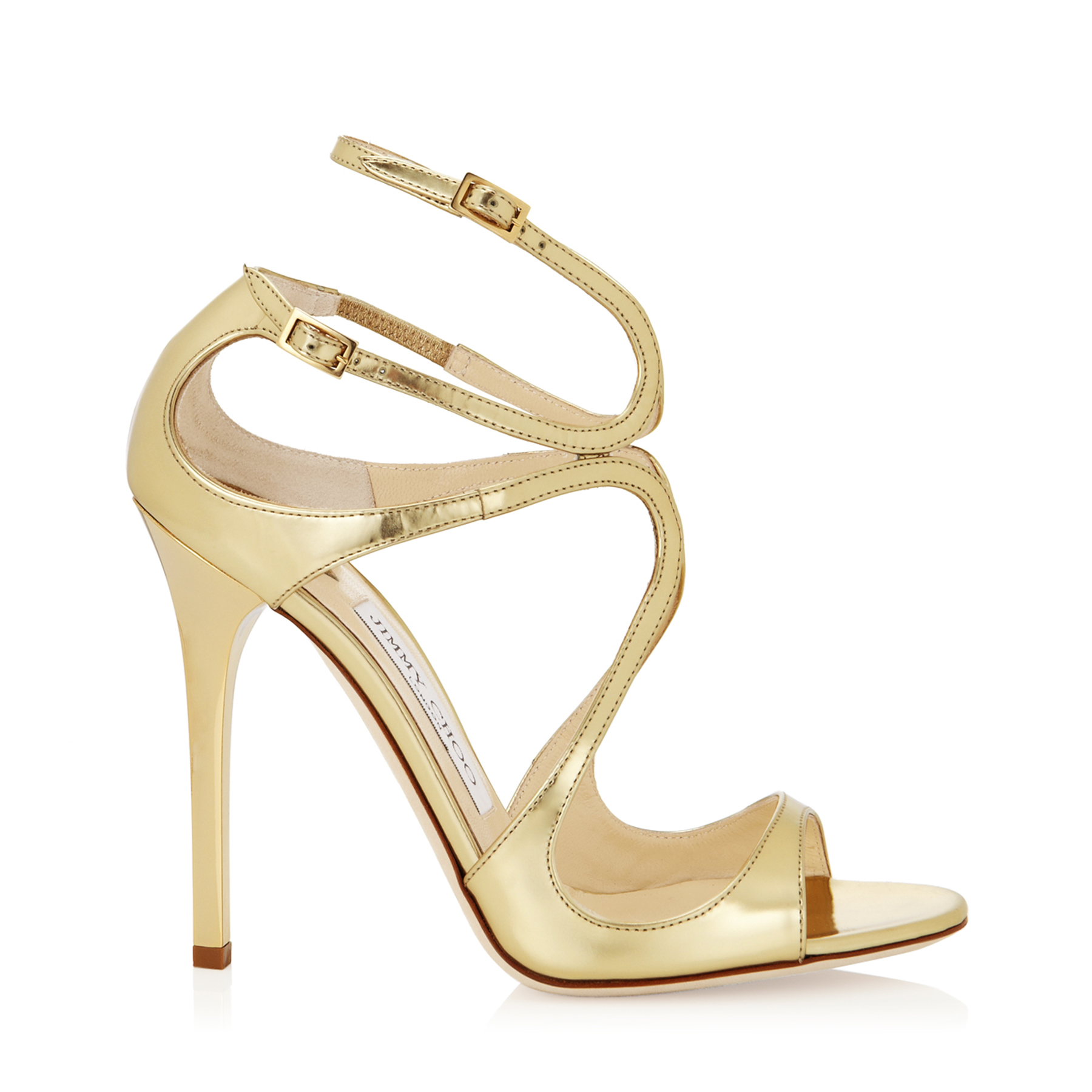 LANCE Gold Mirror Leather Sandals by Jimmy Choo