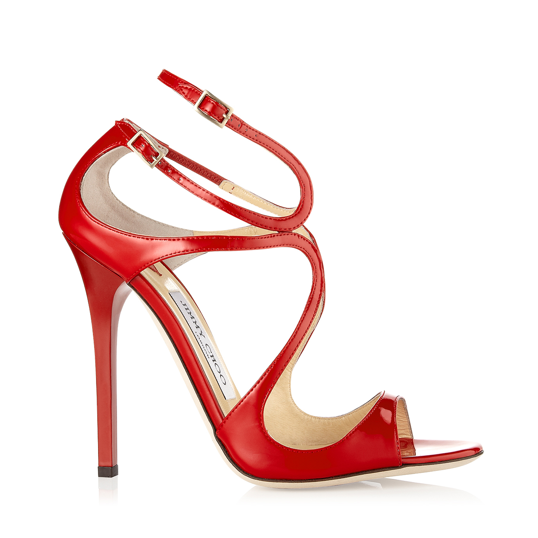 LANCE Red Patent Leather Strappy Sandals by Jimmy Choo