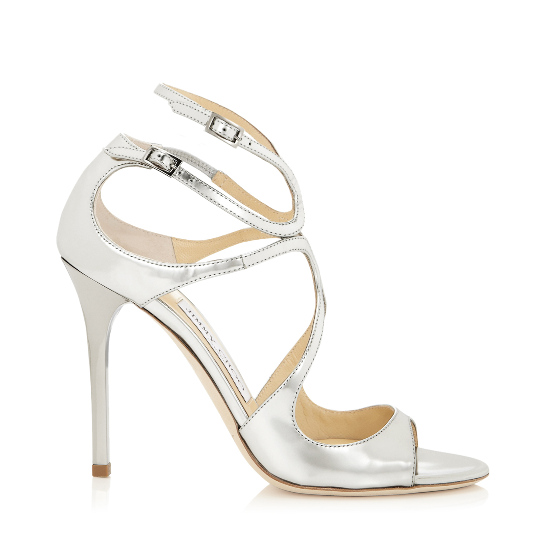 LANG Silver Mirror Leather Sandals by Jimmy Choo