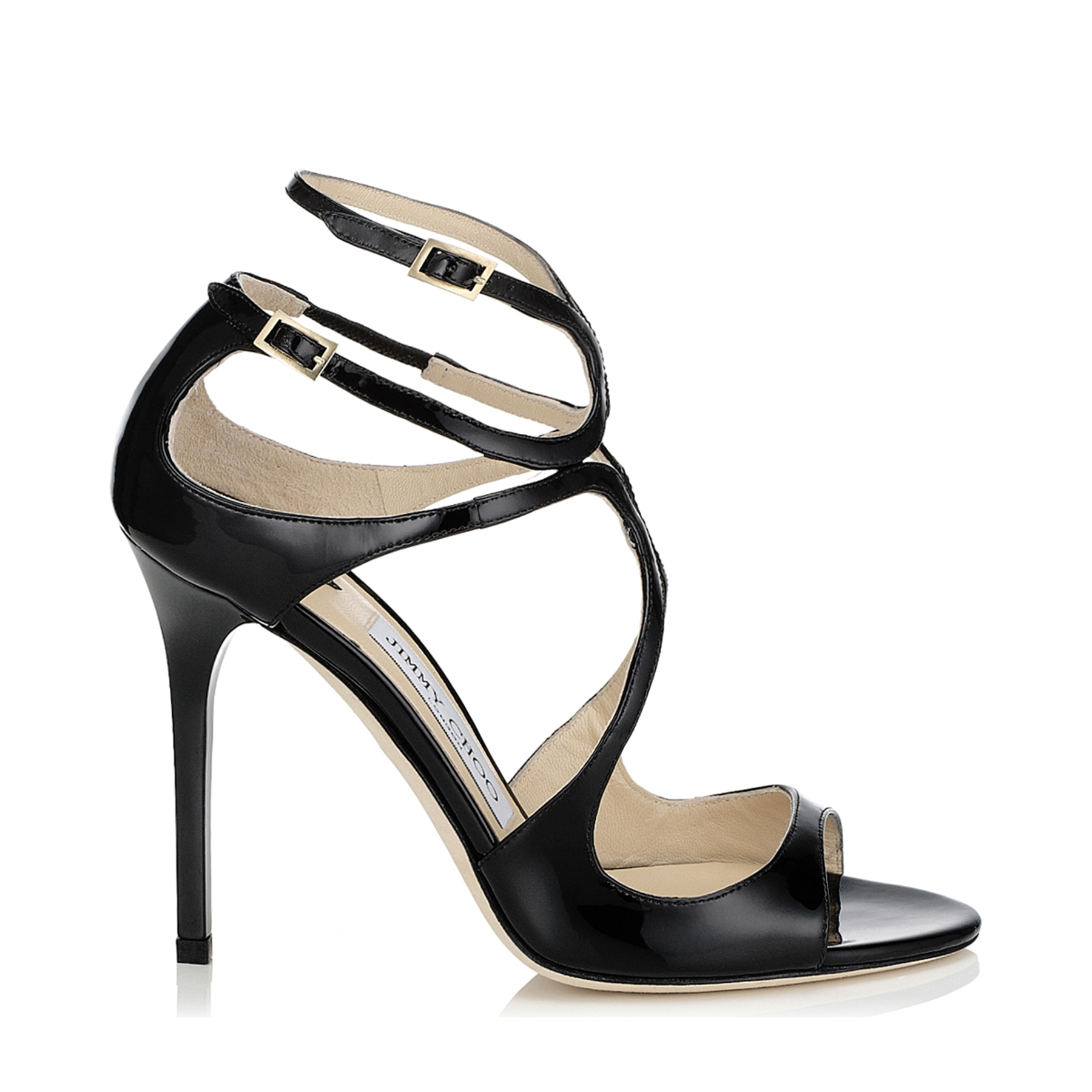 LANG Black Patent Strappy Sandals by Jimmy Choo