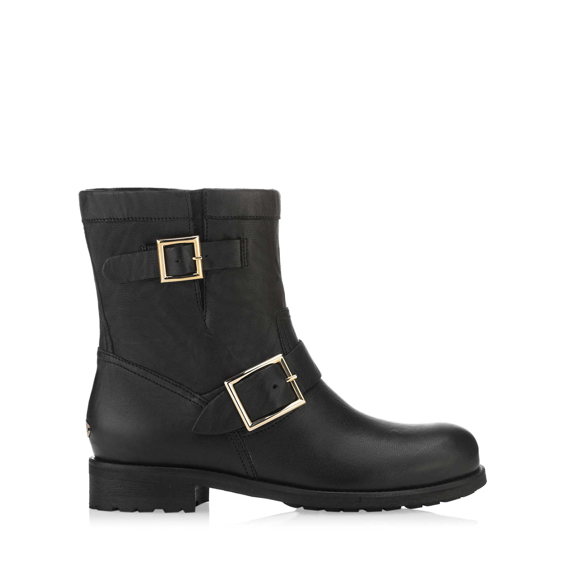 YOUTH – LINED Black Biker Leather Biker Boots with Rabbit Fur by Jimmy Choo