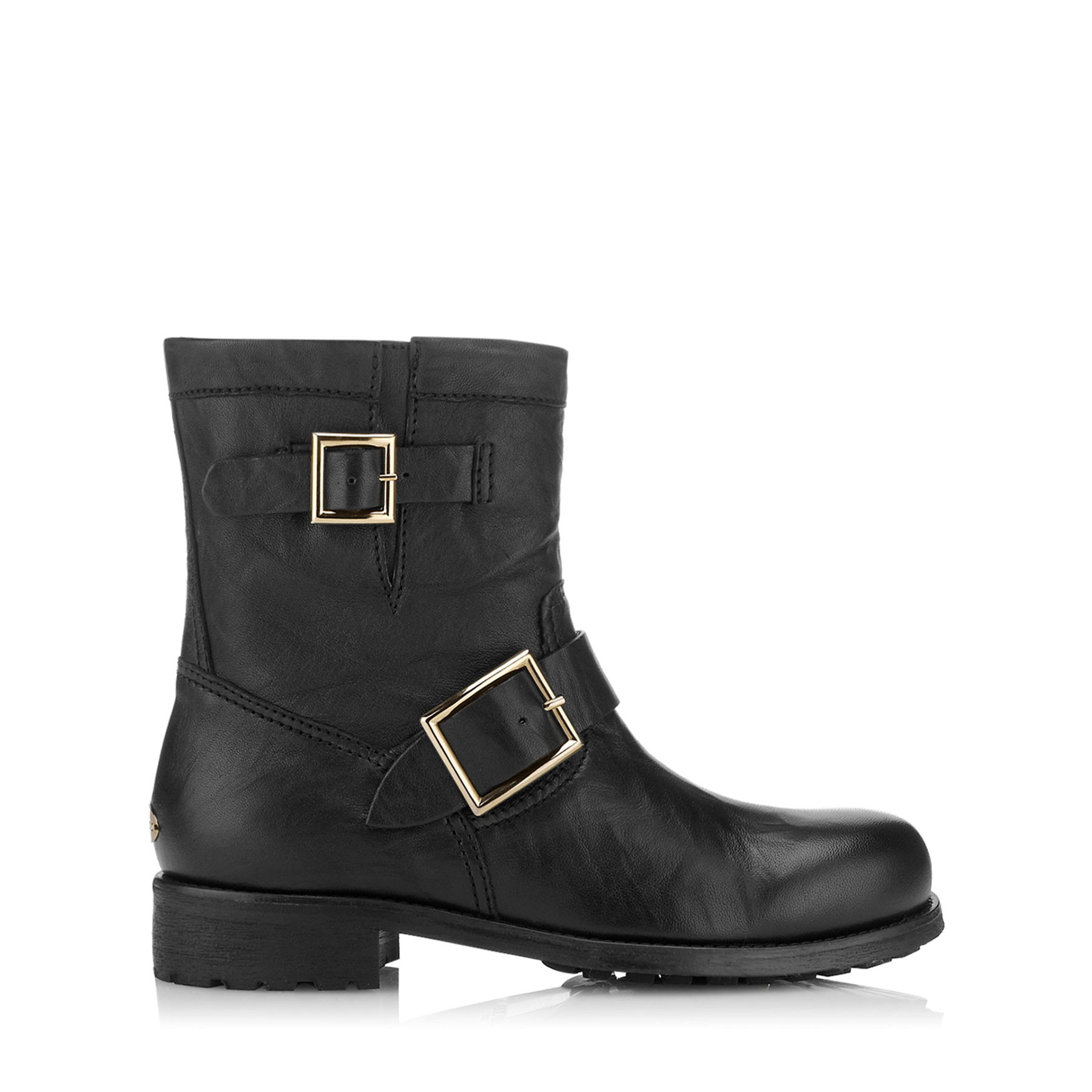 YOUTH Black Biker Leather Biker Boots by Jimmy Choo