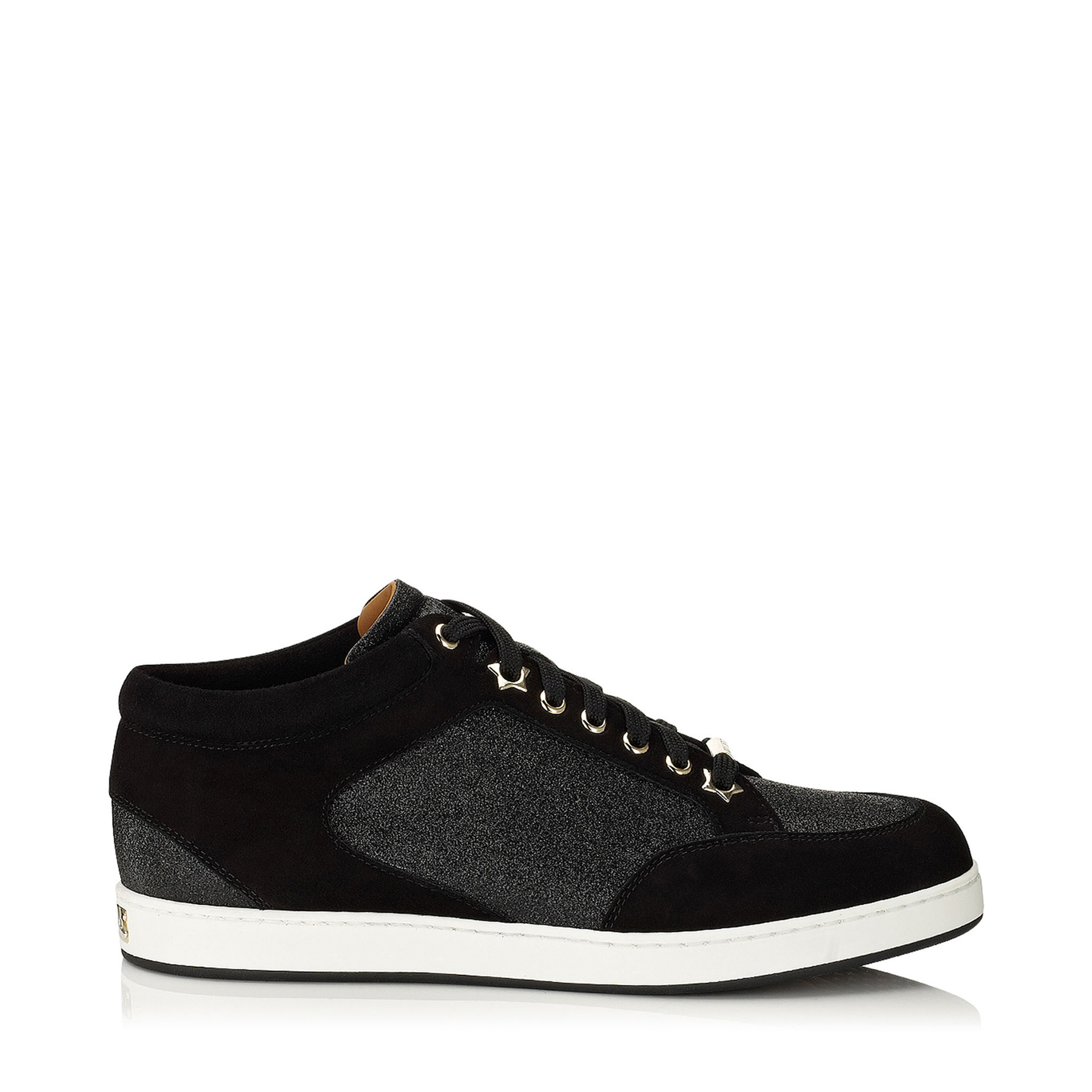 MIAMI Black Fine Glitter and Suede Sneakers by Jimmy Choo